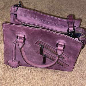 Purple suede Rebecca Minkoff mini purse.